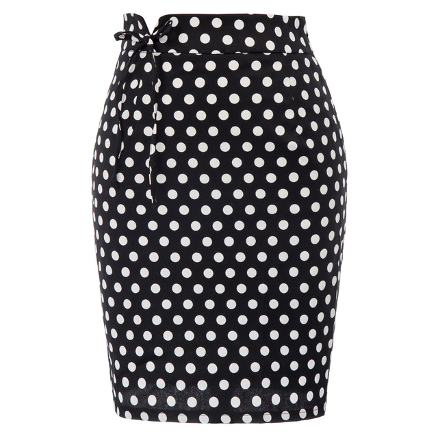 Ladies Summer Mini Skirt Sexy Womens Retro Faldas Mujer Cotton Hips-wrapped high waist Bodycon Pencil Polka Dot Skirt for Women