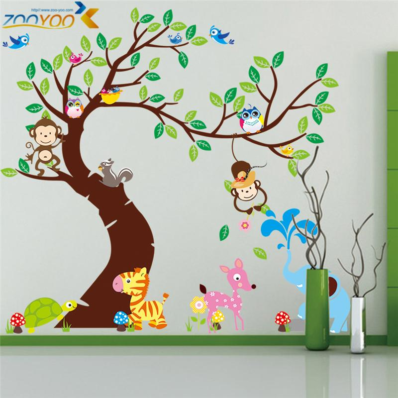 Monkey Wall Sticker Zooyoo1206 Original Animal Wall Arts For Kids Room Tree Wall  Decal Baby Room Home Decoration Hot Selling Diy In Wall Stickers From Home  ... Part 24
