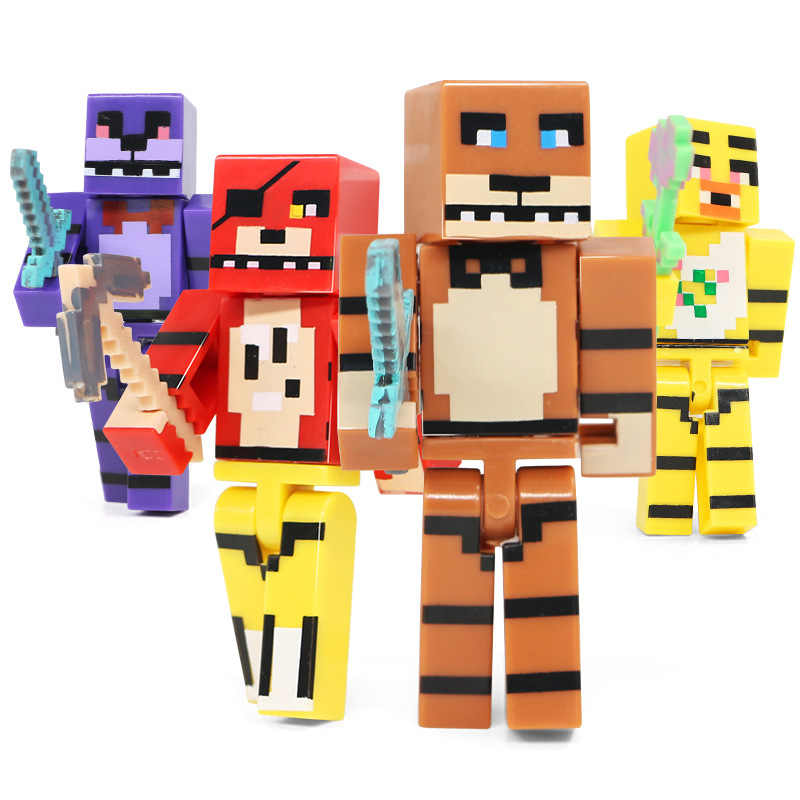 4pcs Plastic Doll for Minecraft FNAF Toy Set for Five Nights