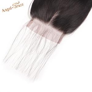 Image 5 - Melek Grace saç 5x5 düz dantel kapatma ücretsiz/orta kısmı İnsan saç doğal renk brezilyalı Remy saç kapatma ile bebek saç