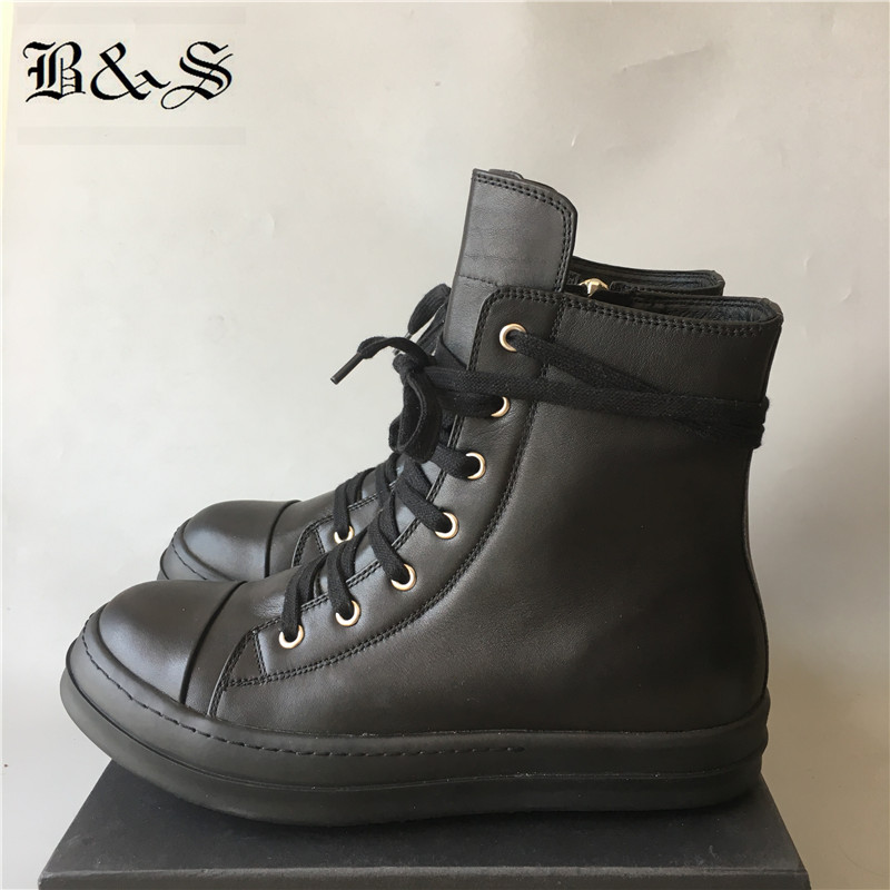 Black& Street Luxury Quality Handmade Lace Up Real Leather Cowhide unisex Boots plus size Men Tenis botas Hip Hop Casual BootsBlack& Street Luxury Quality Handmade Lace Up Real Leather Cowhide unisex Boots plus size Men Tenis botas Hip Hop Casual Boots