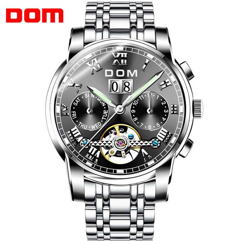 Men Watches DOM Brand Mechanical Sport Watch Waterproof Clock Mens Luxury Fashion Wristwatch Relogio Masculino M75D1M fashion winner watches mens self wind automatic mechanical watch auto date analog sport men wristwatch relogio masculino