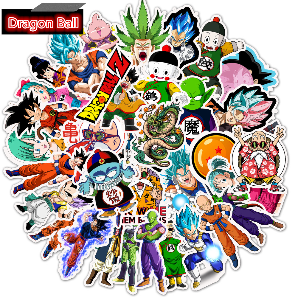 Cool Cartoon Sticker Goku Sticker For Water Bottle Dragon Ball Z Super Laptop Stickers 100PCS Dragon Ball Z Decal Stickers Laptop Bicycle Luggage Skateboard Guitar Stickers For Boys Girls Teens