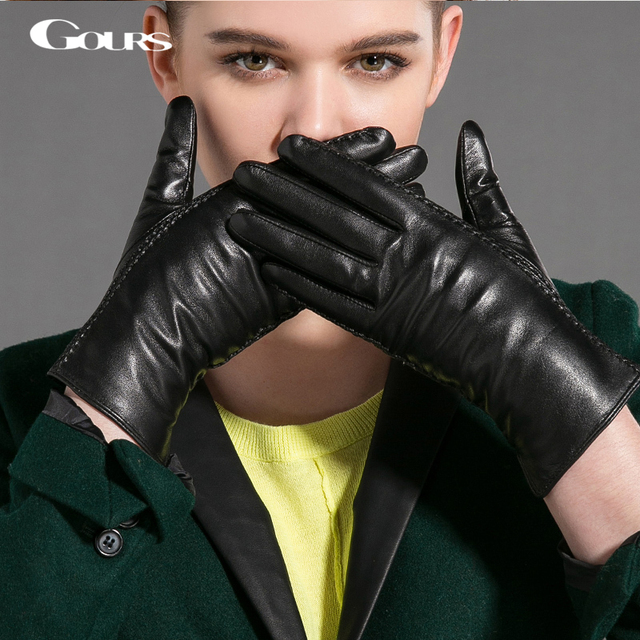 125d29b21 Gours Winter Genuine Leather Gloves Women Fall 2017 New Fashion Brand Black  Warm Driving Gloves Goatskin Mittens Guantes GSL029
