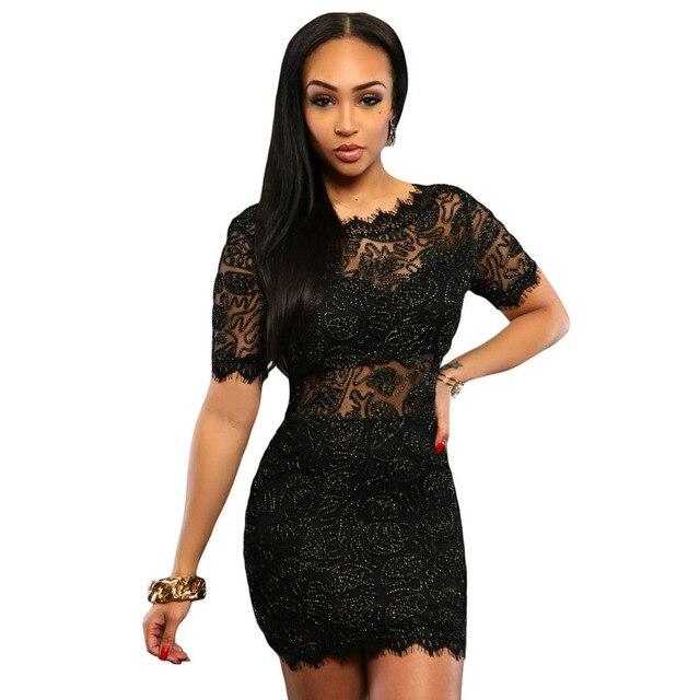 New Bodycon Black Blingbling Lace Dress Vestidos Slash V Back Backless Sexy  Short Evening Women Dress Clothing For Club Clubwear 741325591a7c