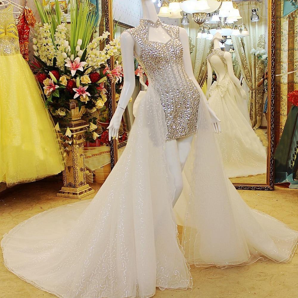 Gorgeous Silver Crystal High Low Bride Wedding Dresses ...Backless Halter Wedding Dresses
