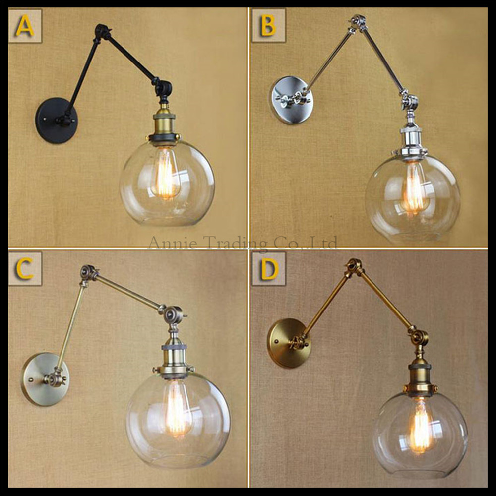 Black Chrome Bronze Gold swing arm Wall lights Globe glass lampshade home lighting art decorative wall lamp sconce fixture deco nervilamp 710 2a gold bronze
