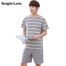 New Summer Men Pajama Sets 100% Cotton Male Short Sleeve O-Neck Stripe