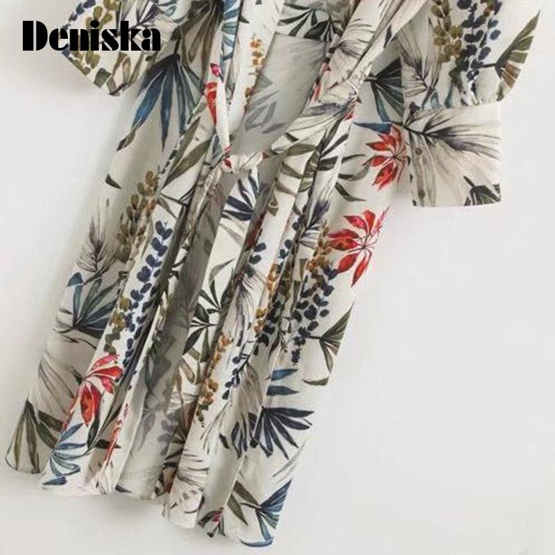 4112f7eb7 DENISKA Print Side Slit Ladies Kimono Cardigan Elegant Long Sleeve Loose  Women Floral Kimono Summer Casual Woman Fashion Kimonos-in Blouses & Shirts  from ...