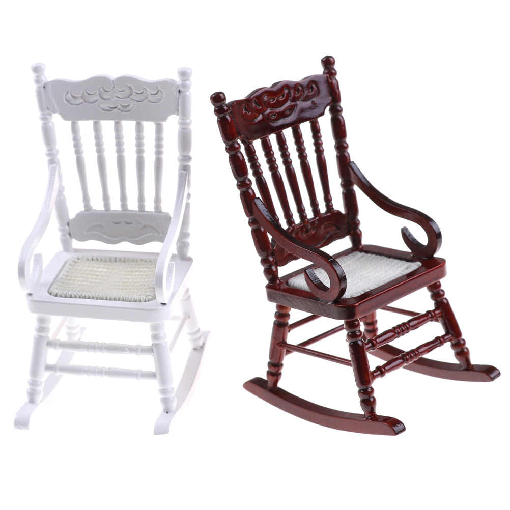 New 1:12 Dollhouse Miniature Furniture White Wooden Rocking Chair Hemp Rope Seat For Dolls House Accessories Decor Toys