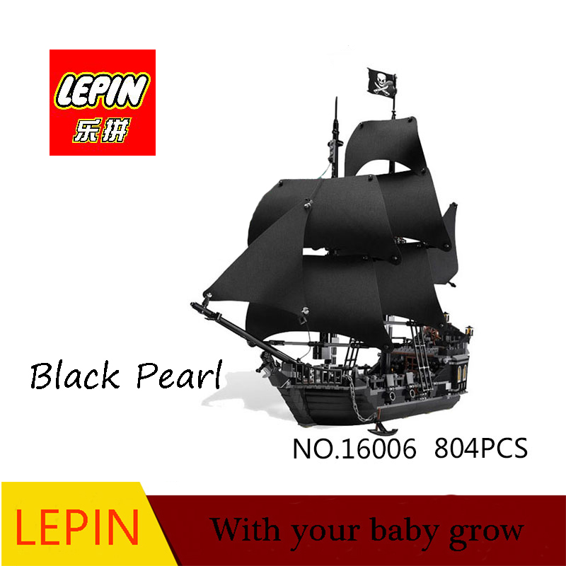 lepin 16006 804pcs building bricks Pirates of the Caribbean the Black Pearl Ship model Toys Compatible 1513pcs pirates of the caribbean black pearl general dark ship 1313 model building blocks children boy toys compatible with lego