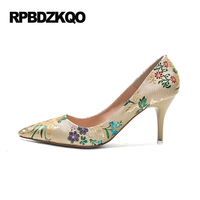 4 34 Small Size Gold Shoes Wedding Pointed Toe 7cm 3 Inch Satin High Heels Stiletto 33 Flower Pumps Ladies Colourful Embroidery