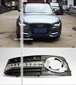 Envío libre, 2x Blanco Brillante LED de Conducción Diurna Luces de Dirección Especial Del Coche DRL Kit Niebla Parrilla Cubierta Para 2008-2012 Audi A4