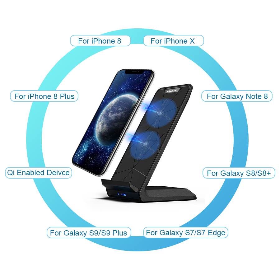 Image 4 - NILLKIN Fast 10W Wireless Charger,Qi Fast Wireless Charging Pad Stand for iPhone XS/XR/X/8/8 Plus For Samsung Note 8/S8/S10/S10E-in Mobile Phone Chargers from Cellphones & Telecommunications