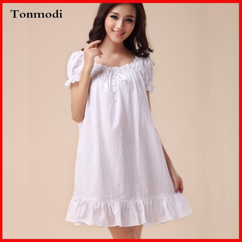 Elegant Nightgowns Women Summer Royal Princess Night Dress Sleepwear Cotton White Robe Lounge Sleepshirts In