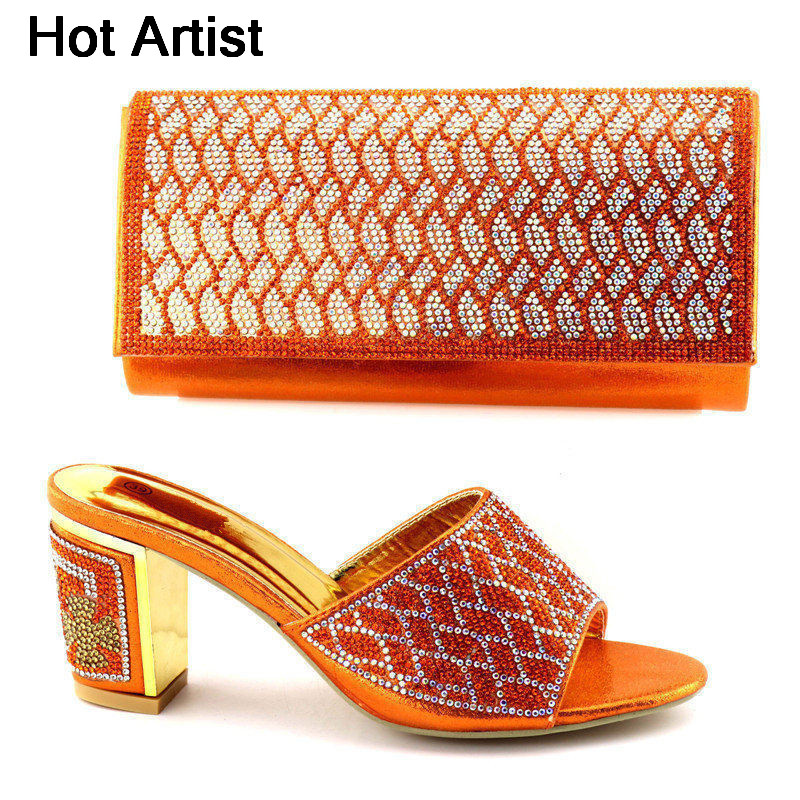 Hot Artist African Design Woman Middle Heels 8CM Shoes And Bag Set For Party Fashion Summer Slipper Shoes And Bag Set TX-9658 hot artist new design summer style shoes and bag set african women shoes and matching bag set for wedding size 38 42 me7709