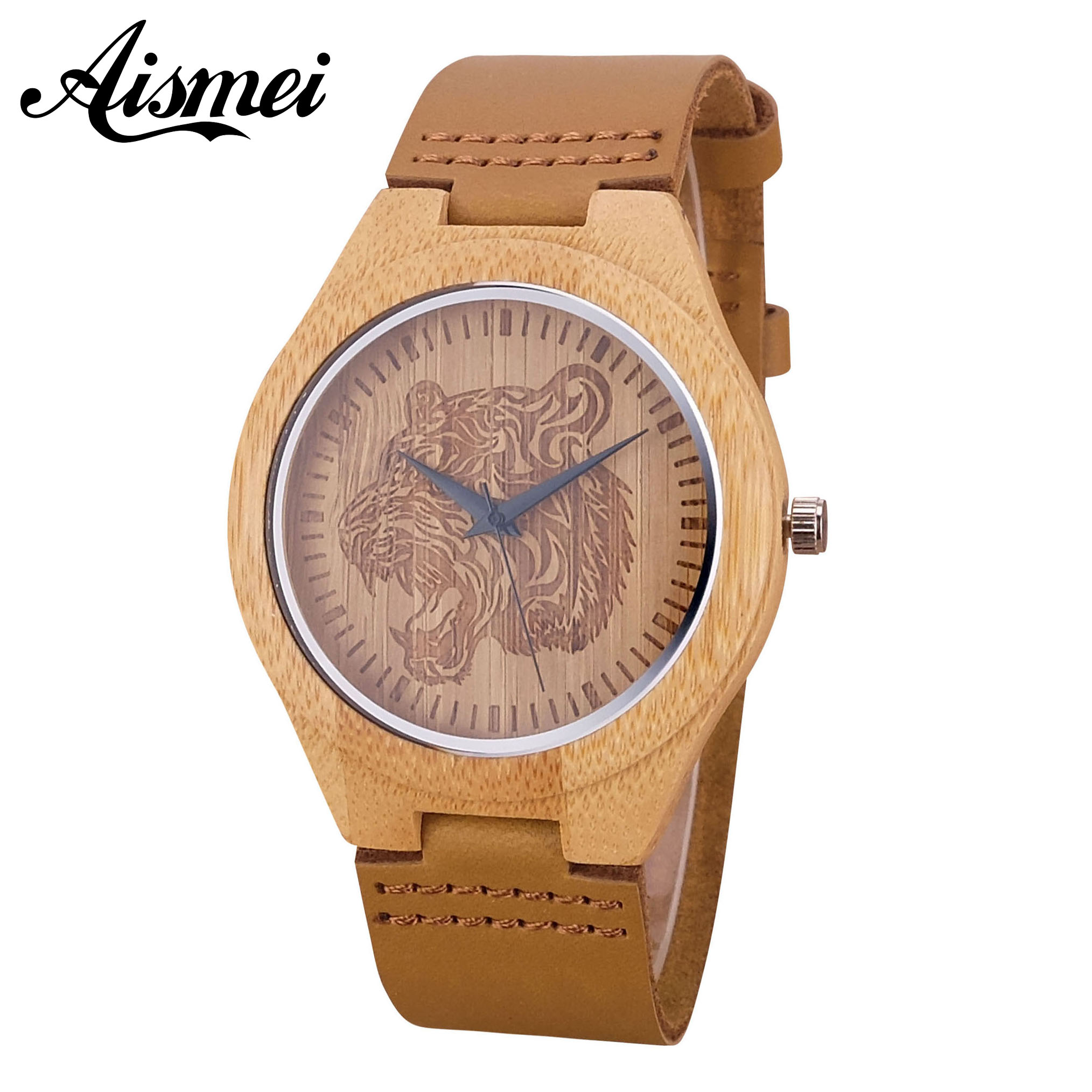 2018 New arrive Cool Tiger Engraving Dial Wood Watches Male Genuine Leather Clock Relogio Masculino Mens Wooden Watch Gift