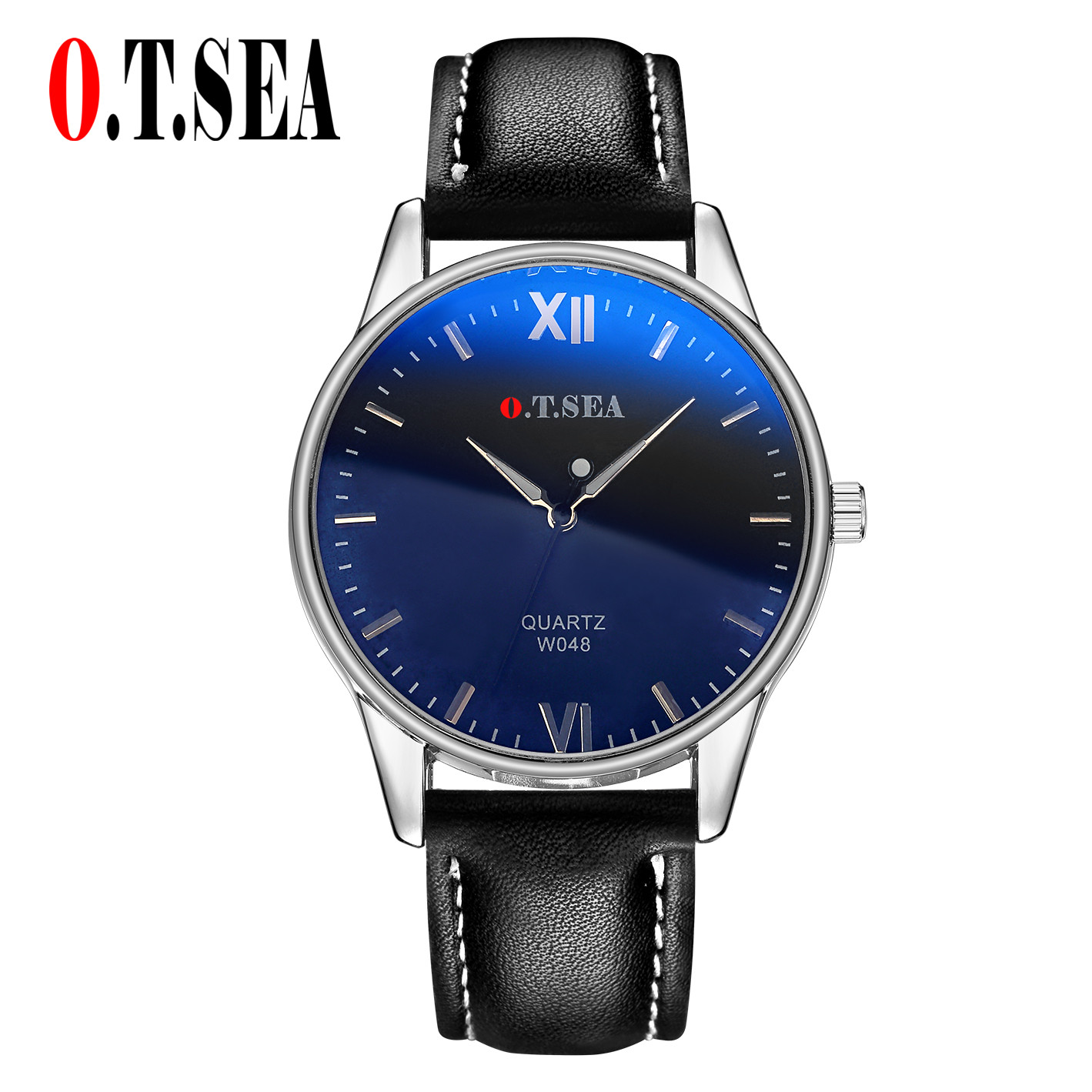 Luxury O.T.SEA Brand Blue Ray Glass Faux Leather Watches Men Military Sports Quartz Wrist Watch Relogio Masculino W048