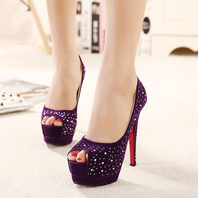 Sexy viola Donna Rhinestone Crystal Peep Toe Toe Peep Platform scarpe rosso   6a7c02