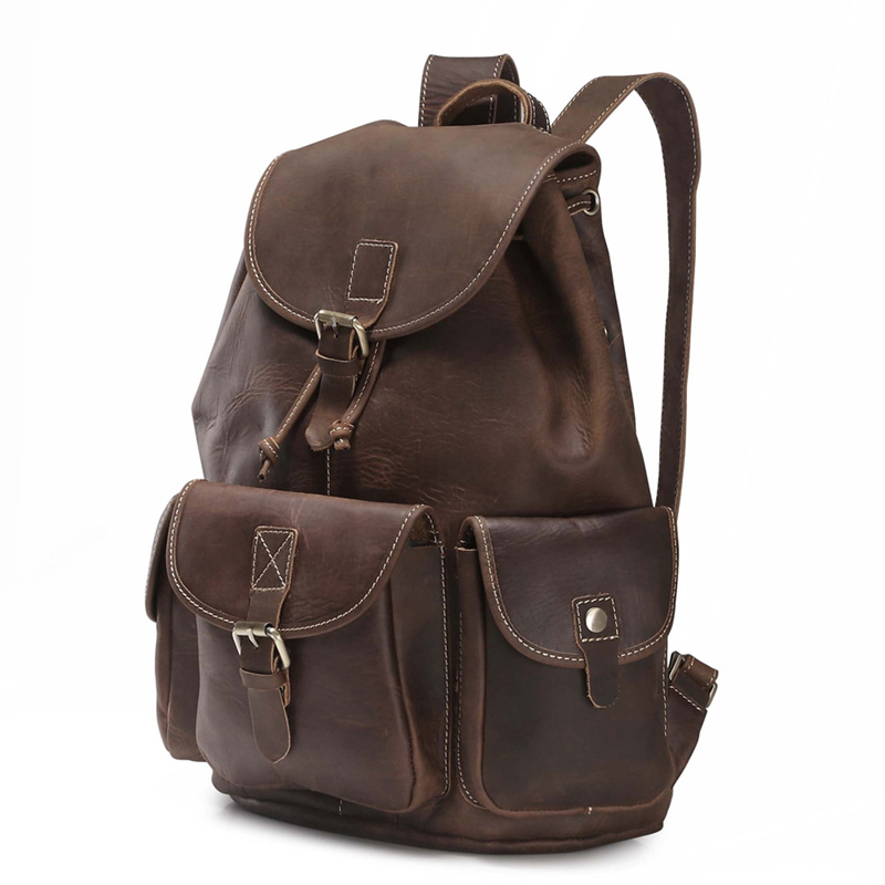 Crazy Horse skóry męska plecak w stylu Vintage, Mochila Feminina męskie torby podróżne pojemna na laptop plecak mężczyzna plecak J20 w Plecaki od Bagaże i torby na  Grupa 2