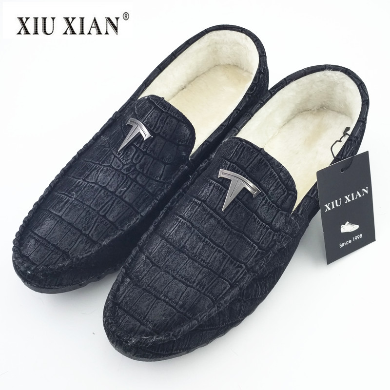 Plush Winter Fashion Men Loafers 2018 New Hot Sale Crocodile Pattern PU Leather Comfortable Slip on Flats Soft Driving Fur Shoes