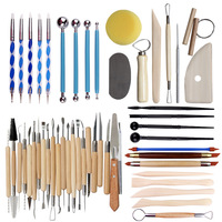 Arts Crafts Clay Sculpture Tools Set Pottery Ceramic Clay Indentation Dotting Pen Silicone Tips Embossing Nail Carving Tools