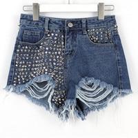 2018 women brand clothing high waist Rivet hole washed denim shorts Female fashion streetwear loose pure cotton short jeans M801