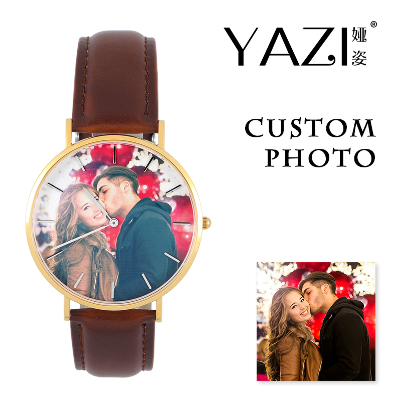 YAZI DIY Wrist Watch Print with Client's Picture Custom Photo Watch Personalized Lucky Logo Quartz Watch For Souvenir And Gift custom coil notebook spiral notepad personalized customized picture photo logo