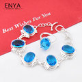 Christmas Gift New Fashion Blue Synthetic Topaz Silver Plated Bracelet & Ring Jewelry For Women Wedding Jewelry Sets
