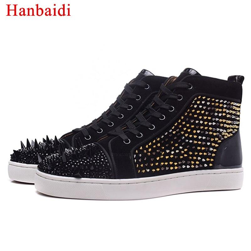 Chaussures Arrivée Up Bout Hommes Lace De High Sneakers Mode Show As Nouvelle Casual Cut Cuir Rivet Hanbaidi En Véritable Rond Rouge wgXxA5Sq