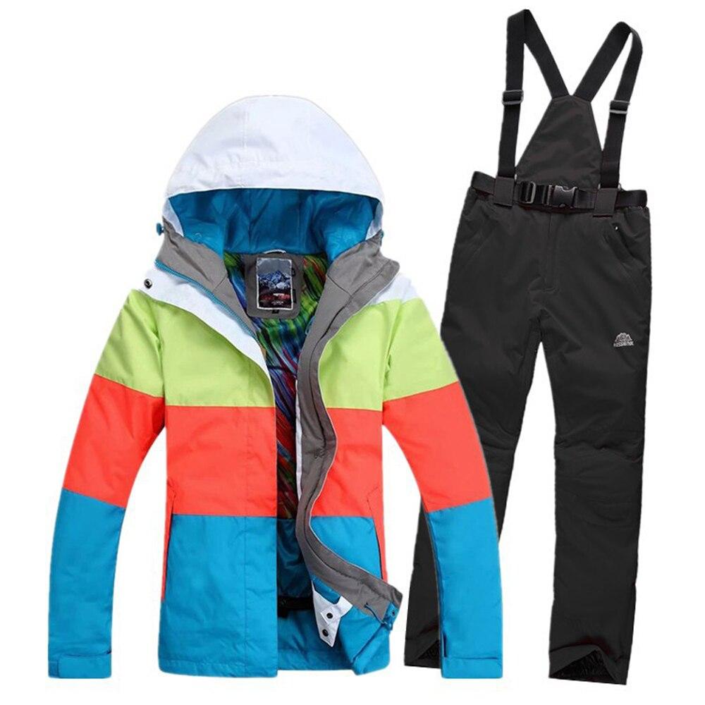Vente de vêtements de Ski nouveau 2019 hiver femme vêtements de ski Gsou femmes manteau de ski snowboard Ski costume femmes neige porter veste pantalon - 4