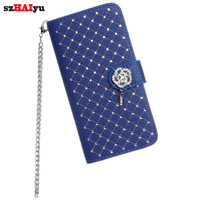 szHAIyu For Samsung Galaxy S5 I9600 Luxury Bling Rhinestone Diamond Cover Case Glitter Leather Flip Wallet Stand case for Women