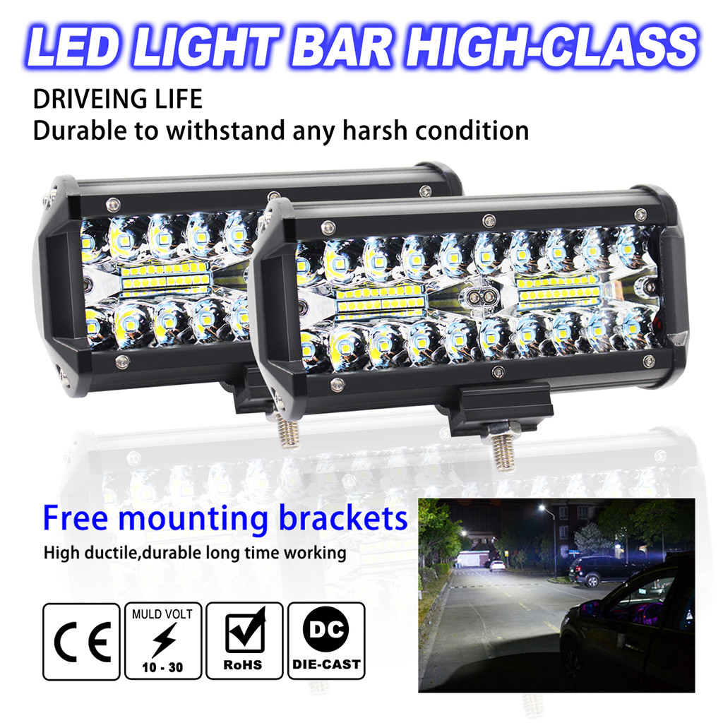 Image 2 - 2pcs 7inch LED Light Bar 240W Offroad Driving Lights LED Work Lights for Jeep LED Lamps For Cars Luces Led Para Auto-in Light Bar/Work Light from Automobiles & Motorcycles