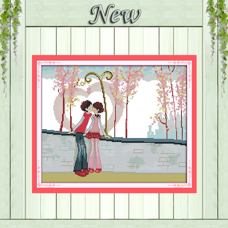 Initiative Fall In Love Kiss Cartoon Paintings Counted Printed On Canvas Dmc 14ct 11ct Chinese Cross Stitch Needlework Sets Embroidery Kits Package