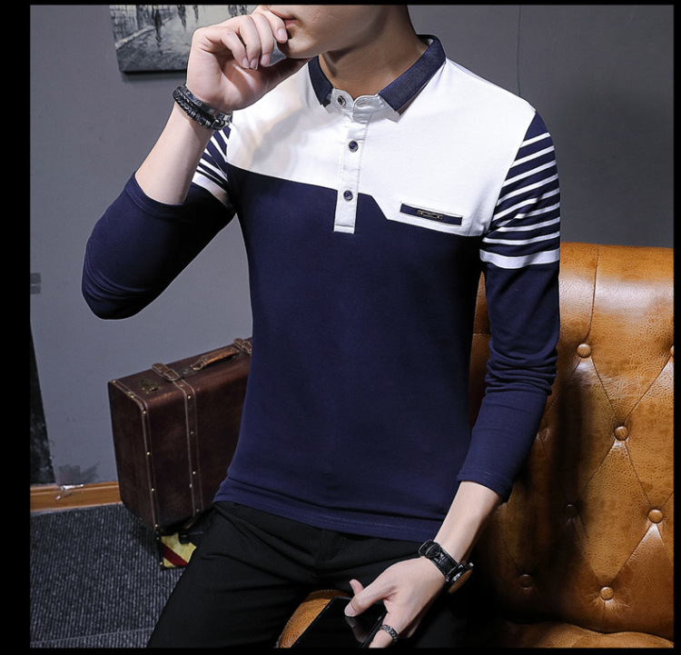Business Casual Long Sleeve Men Polo Shirt Striped Autumn Winter Polos Cotton Slim Fit Camisa Polo Masculina 73