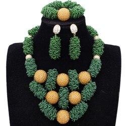 Ensemble de Bijoux Dudo, perles africaines, or vert, dubaï, ensemble de Bijoux plus audacieux pour femmes, livraison gratuite, Parure Bijoux pour femmes 2018