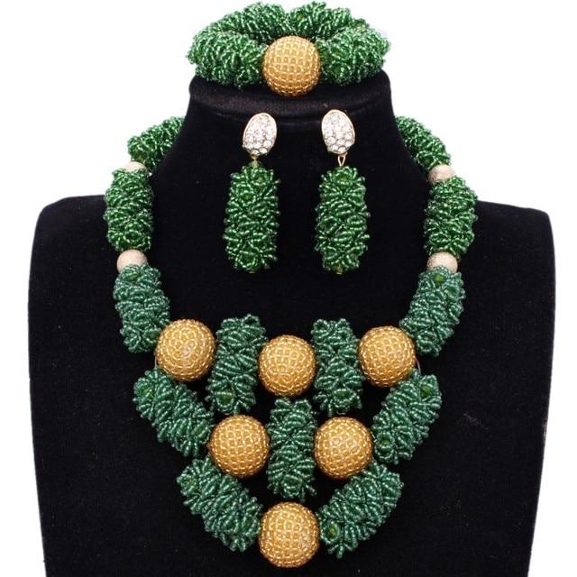New Dudo Jewelry Set African Beads Green Gold Dubai jewelry Set More Bold Women Jewellery Set Free Ship Parure Bijoux Femme 2018