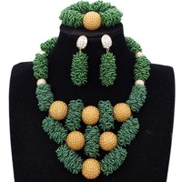 New Dudo Jewelry Set African Beads Green Gold Dubai jewelry Set More Bold Women Jewellery Set Free Ship Parure Bijoux Femme 2018