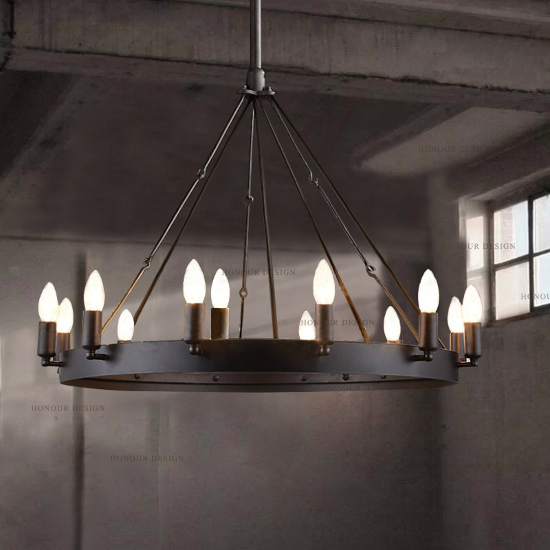 Hh American Village Loft Restaurant Bar Large Wrought Iron Chandelier Vintage Lighting Round Table Lamp In Arm Warmers From Women S Clothing