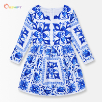 Blue And White Porcelain Flower Girls Dresses Winter 2016 Toddler Children Clothing Long Sleeve Brand Kids