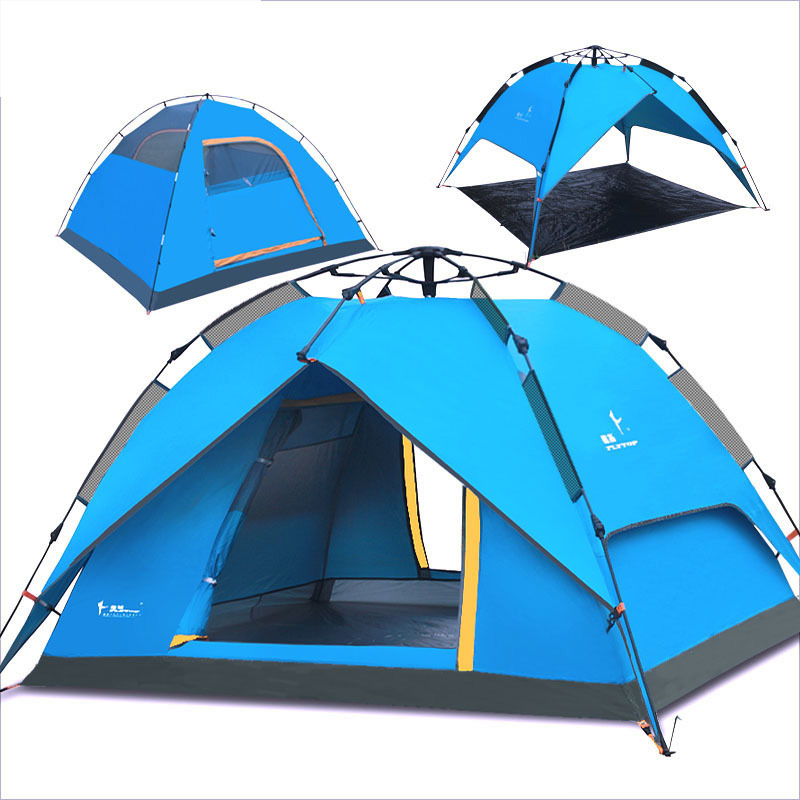 Flytop 3-4persond double layer 2use & 3use automatic quick open outdoor camping family tent.3use have fiber glass pole and mat high quality outdoor 2 person camping tent double layer aluminum rod ultralight tent with snow skirt oneroad windsnow 2 plus