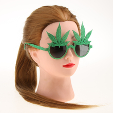 Novelty Flamingo Party Decorations Wedding Decor  Glitter Green Maple Leaf Sunglasses Hawaiian Funny Glasses Event Supplies