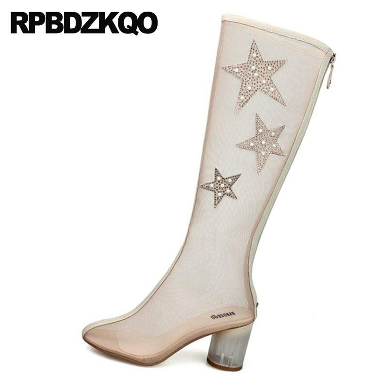 Chaussures Chunky Bottes Genou De Femmes D'été Blanc Marque Transparent blanc Talon rouge Longues Mesh Sandales Cristal Hautes Haute Rhinestone Beige Clair Mariage Ewz6qI