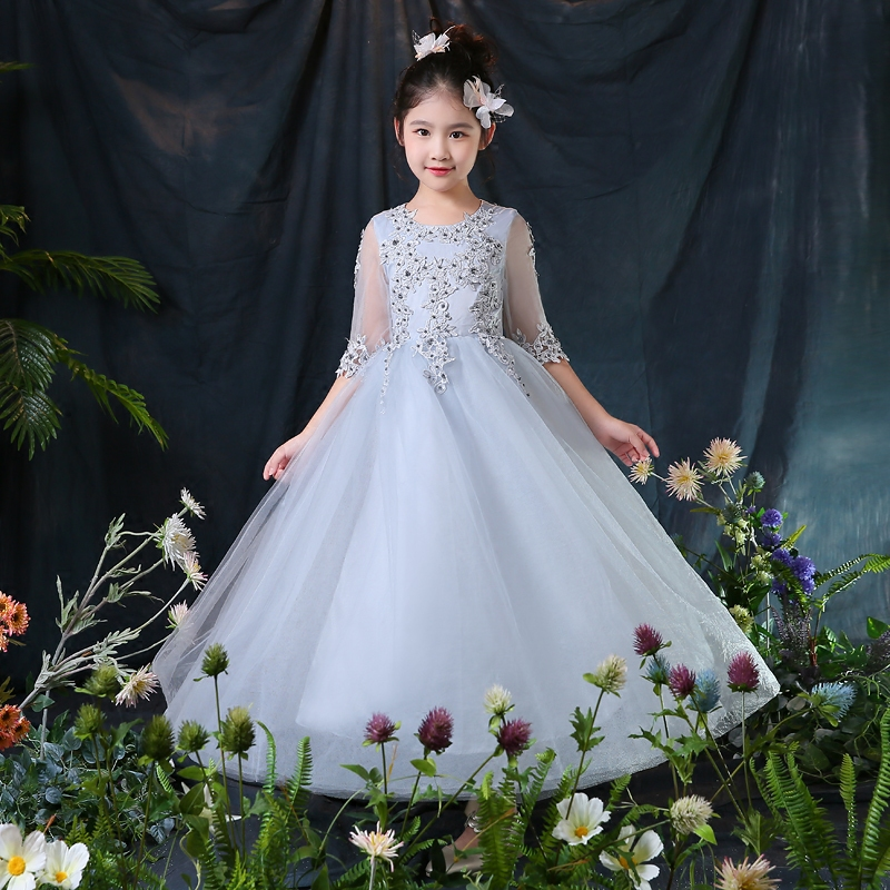 Baby Girl Kid Evening Party Dresses For Girl Wedding Princess Clothing 2018 New Solid Color Bow Moderator Dress Children Clothes