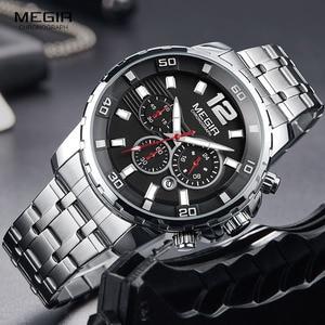 Image 2 - Megir Mens Chronograph Quartz Watches Stainless Steel Analogue Wristwatch for Man 24 hour Display Waterproof Luminous 2068G 1