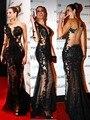 Горячая распродажа сексуальное отвесное кружева пром платья одно плечо длинные рукава Charmming черный 2016 русалка вечернее платье видеть сквозь платье