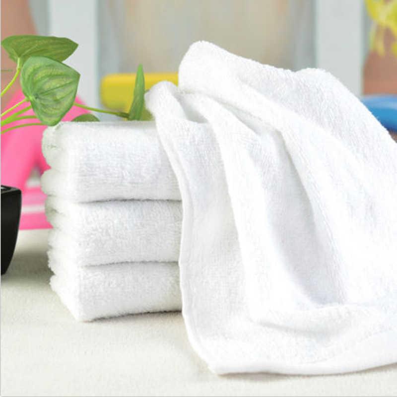 26*55 سنتيمتر الأبيض المحمولة لينة ستوكات النسيج الوجه منشفة منشفة حمام الفندق مناشف اليد المناشف بالجملة