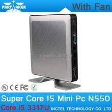 4G RAM 256G SSD Partaker N550 Linux Thin Client Mini PC Case with Intel Core I5 3317U Mini Desktop PC