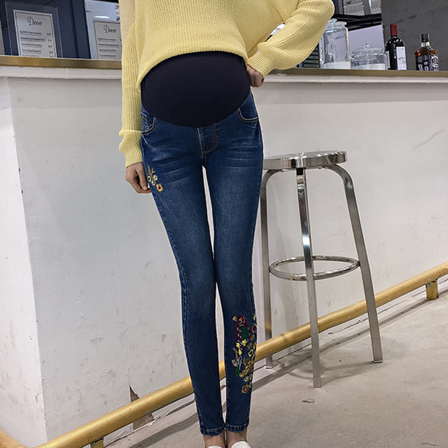 8105dda915e0a High Quality Maternity Jeans Tight Pants For Pregnant Women Embroidery  Adjustable Belly Denim Pants Pregnant Clothing Trousers