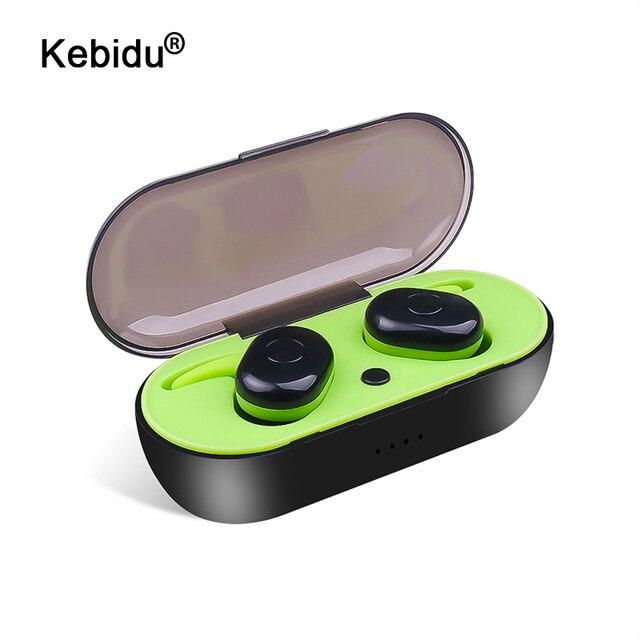 Kebidu nova chegada tws bluetooth v5.0 fone de ouvido 3d estéreo esportes sem fio fones com microfone duplo para iphone xiaomi